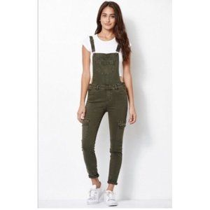 KENDALL + KYLIE GREEN CARGO UTILITY OVERALLS